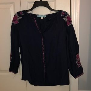 Navy blue blouse top